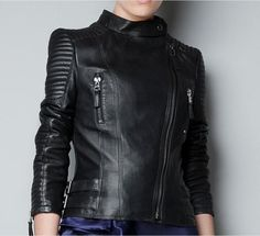 Facotry Women Jacket Real Sheepskin Genuine Leather TOP Brand Slim Short Black Bomber Biker Motorcycle Female Winter Coat ZH049A