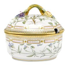 A Royal Copenhagen Flora Danica porcelain sauce tureen with cover