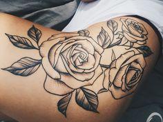 Roses tattoo. Hip tattoo. Rose tattoo. Big tattoo.
