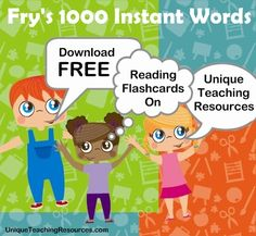 """I've been researching """"Fry's 1000 Instant Words"""" to use in class -- this site has the lists in various formats and record sheets, but the neatest thing are their color-coded Flashcards for each word! Everything is free!"""