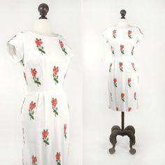 vintage 1950s dress  50s 60s linen dress  by SteeleHollowVintage