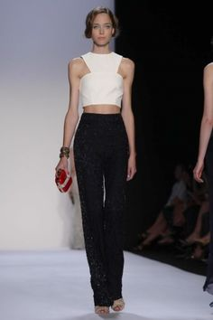 Badgley Mischka Ready To Wear Spring Summer 2014...Great details. Imagine this top in leather with embellishments. Change the color  & add a skirt that fits your style.