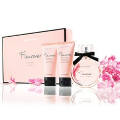 Fleurever Gift Set. Layer your scent with Fleurever. Inspire your senses with the allure of warm Vanilla, sweet Apple and soft Jasmine, while Shea Butter deeply nourishes your skin. Gift Set includes Shower Gel 50ml, Body Lotion 50ml + Eau de Toilette 50ml.