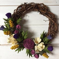 New size and colour option added! Felt Flower Wreaths, Felt Wreath, Felt Flowers, Diy Flowers, Fabric Flowers, Paper Flowers, Grapevine Wreath, Cute Crafts, Crafts To Do