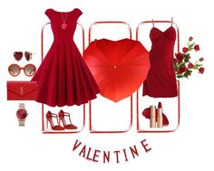 Red Hot Valentine by airrazor23 on Polyvore featuring polyvore Gianfranco Ferré Yves Saint Laurent Thomas Sabo Betsey Johnson Kate Spade Alexander McQueen National Tree Company Par Avion Tea fashion style clothing