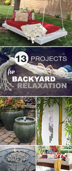 Lots of ideas, tutorials & projects. • learn how to DIY fountains, hammocks, hanging beds, fire pits and much more! • Explore this blog post to see 13 Projects for Backyard Relaxation!  #backyardprojects #DIYbackyardprojects #backyardrelaxation #backyardrelaxationprojects #DIYbackyardrelaxationprojects #DIYgardenprojects #DIY