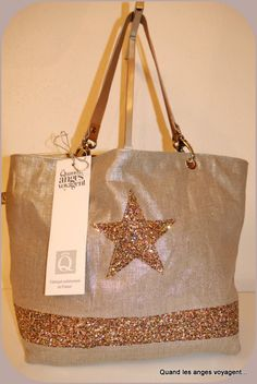 Cabas lin argenté avec étoile en paillettes, moyen : Sacs à main par les-etoiles-des-anges