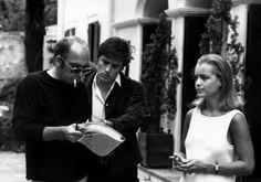 Jacques Deray, Alain Delon and Romy Schneider on the set of La Piscine, 1969