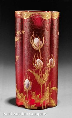 Legras Mont Joye Enameled Cranberry Glass Vase, late 19th/early 20th c.