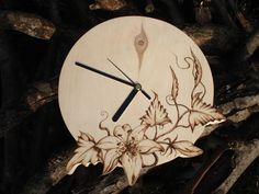 Pyrography wood wall clock (Wood burning )