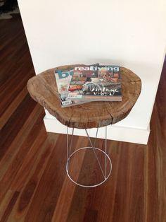 Timber log coffee table stand. Hardwood