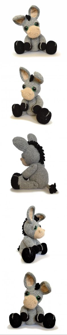 Dylan the Donkey amigurumi pattern by Patchwork Moose (Kate E Hancock)