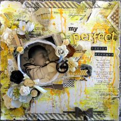 Titled 'My Perfect Little Dreamer'. A mixed-media layout I created for CSI... Color, Stories, Inspiration case-file 100.