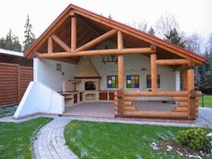 Pin on Bricolaj și artizanat Backyard Patio Designs, Backyard Projects, Backyard Landscaping, Backyard Fireplace, Outdoor Kitchen Design, Outdoor Living, Garden Design, Garden Architecture, Architecture Design