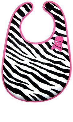 Kiditude Zebra Striped Skull Baby Girl Bib $14.95... everything pink and zebra