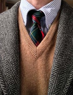 J. Press 3/2 Harris Tweed, Brooks Brothers univ. stripe OCBD and lambswool sweater vest (England), Lochcarron wool tie (National Millennium tartan, Scotland).