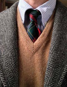 J. Press 3/2 Harris Tweed, Brooks Brothers univ. stripe OCBD and lambswool sweater vest (England), Lochcarron wool tie (National Millennium tartan, Scotland).
