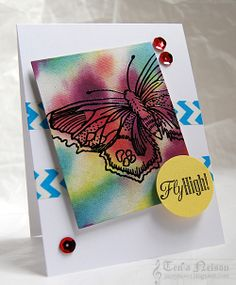 Stamps by Crafter's Companion(Sheena's A Little Bit Sketchy EZMount Stamp Set - The Butterfly Effect), inks by IMAGINE Crafts, Washi Tape by Queen and Co. Card created by Tenia Nelson. @crafterscomp @imaginecrafts