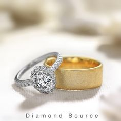 Yellow Gold mens wedding band for him. White Gold Oval diamond halo ring for her. Wedding Bands For Him, Wedding Sets, Wedding Rings, Rings For Her, Bridal Show, Oval Diamond, Dream Ring, Jewelry Gifts, Jewellery