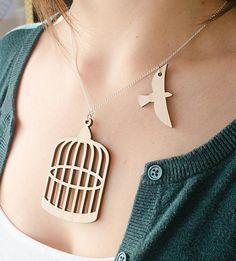 Bird and birdcage necklace idea