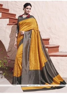 Women s Clothing - Party Wear Yellow Thappa Silk Saree - - Products Details : Style : Party Wear Saree Size : Length Of Saree : - Party Wear Yellow T New Indian Dresses, Indian Wedding Outfits, Indian Outfits, Latest Indian Saree, Indian Sarees, Art Silk Sarees, Silk Sarees Online, Indian Designer Sarees, Casual Saree