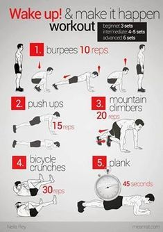 wake up work out 96ccd4edffe91b8e4744927085633d45.jpg 284×403 pixels #fitnessworhout