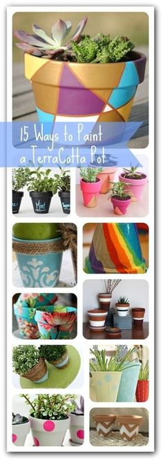 Here is a roundup of a bunch of cute and clever ideas to paint a terra cotta pot!  These make great indoor or outdoor decorations.