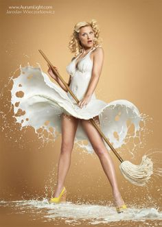 www.aurumlight.com London based photographer Jaroslav Wieczorkiewicz has decided to use some clever Photoshop skills and create a milky tribute to the 1940s. Frozen with high speed strobes, each photograph is layered from hundreds of photographs of splashes on real models using real milk. Inspired by artists such as Gil Elvgren, Wieczorkiewicz has said that it can take up to 200 frames to reach the finished image.