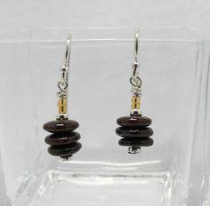 Garnet Rondelle Earrings, Petite Length, 1 Inch Drop, Burgundy Color, Handmade Earrings, Office or Casual Wear, Sterling Silver Ear Wires by ElysiumUniqueJewelry on Etsy