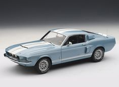 Ford Shelby Mustang GT500 (1967) Diecast Model Car by AUTOart 72907 This Ford Shelby Mustang GT500 (1967) Diecast Model Car is Blue and features working steering, suspension, wheels and also opening bonnet with engine, boot, doors. It is made by AUTOart and is 1:18 scale (approx. 25cm / 9.8in long). #AUTOart #ModelCar #Ford #MiniModelCars Mustang Gt500, Ford Shelby, Ford Mustang Shelby, Model Cars Kits, Car Makes, Diecast Model Cars, Ford Models, Hot Wheels, Rally