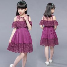 Summer New Product Girl Child Pure Cotton Cotton Lace Shoulder Princess Dress Cute Little Girl Dresses, Dresses Kids Girl, Girls Party Dress, Kids Outfits, Baby Girl Dress Patterns, Baby Clothes Patterns, Kids Frocks, Frocks For Girls, Girls Frock Design