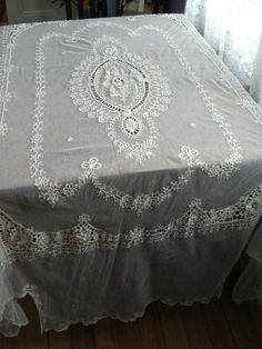 Vintage 1920s French Normandy Lace Bedspread by bycinbyhand, $425.00