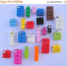 ON SALE Lot of 30 beads-charms made from LEGO (R) bricks with or without Swarovski crystals - Ideal for Do It Yourself Jewelry creations Do It Yourself Jewelry, Do It Yourself Fashion, Elo 7, Lego Brick, Lego Friends, Legos, Diy And Crafts, Geek Crafts, Coupon Codes