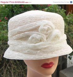 Vintage small summer straw white wedding hat by theageofvintage, $100.00
