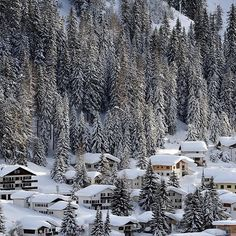 Snowy and charming Davos, Switzerland.  @gettyimages