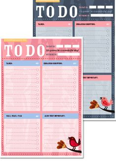 cute, printable daily to do lists