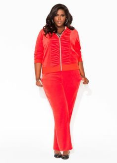 Ashley Stewart Velour Pants and Ruched Front Jacket