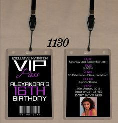 13th Birthday Invitations Sweet 16 16th Parties Vip Pass
