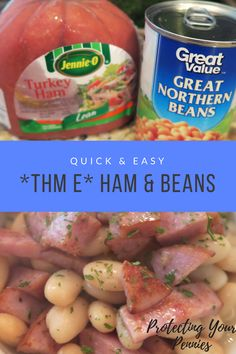 A Simple turkey ham and beans meal that is inexpensive and tasty. The recipe is low fat and full of healthy carbs. #cheapeats #trimhealthymama #THME #THM #healthyfood