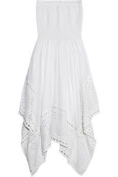 MICHAEL Michael Kors Strapless broderie anglaise cotton-voile dress | NET-A-PORTER