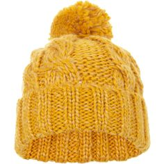 Miss Selfridge Mustard Turn Up Cable Beanie ($18) ❤ liked on Polyvore featuring accessories, hats, mustard, pom pom hat, beanie hats, miss selfridge, acrylic hat and cable knit pom pom hat