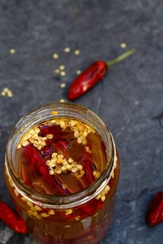Portuguese Piri Piri peppers preserved in olive oil and whiskey. #Portugal