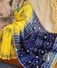 Elegant Chanderi Saree with Block Print & Tie & Dye work Chiffon Saree, Saree Dress, Silk Sarees, Cotton Saree Designs, Saree Blouse Designs, Cotton Sarees Online, Tie Dye Dress, Fancy Sarees, Saree Styles