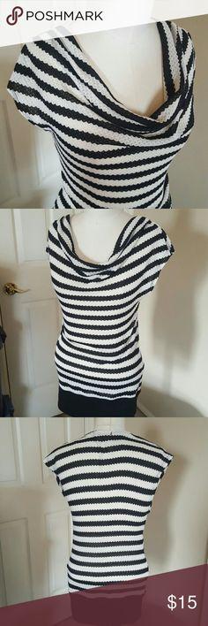 Striped cowl neck sweater Lightweight knit black and cream striped sweater. Cowl neck, cap sleeves, solid black at hem. Tops