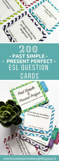 ESL English Speaking Activity Question Cards. 200 Different questions in Past Simple regular and irregular and present perfect tenses. Great for older teen and adult learners.
