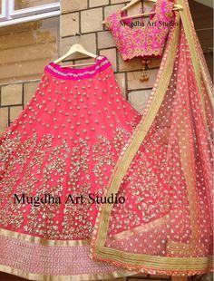 Stones Highlighted Half Sari by Mugdha - Saree Blouse Patterns Indian Bridal Wear, Indian Wedding Outfits, Bridal Outfits, Indian Outfits, Lehenga Designs, Indian Attire, Indian Ethnic Wear, Nanu Nana, Indische Sarees