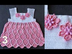Детское ажурное платье 'АНАНАСЫ' крючком. Часть 3. Child fishnet dress. - YouTube