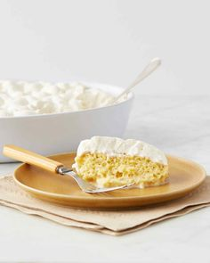 "You can make this triple milk-soaked cake a day in advance and whip the cream just before serving. Martha made this recipe on ""Martha Bakes"" episode 711."