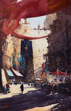 Along the Market strand, Judd Mercer, Watercolor, 2016 : Art