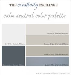 Love this for Kitchen/Living Room - calm neutral color palette -- paint color palette for office:craft room from The Creativity Exchange (pictures of the space painted in these colors in the link) Office Color Schemes, Office Paint Colors, Bedroom Paint Colors, Light Grey Paint Colors, Gray Color, Paint Color Palettes, Paint Color Schemes, Neutral Colour Palette, Sherman Williams Paint